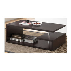 Wholesale Interiors - Modern Lindy Coffee Table - Steel support beams. Ideal for decor, books, beverages and more. Wipe clean with a dry cloth. Warranty: 30 days limited. Made from engineered wood and faux wood grain paper veneer. Dark brown finish. Made in Malaysia. Assembly required. 47.25 in. W x 27.6 in. D x 17.1 in. H (49 lbs.)Sculptural and minimalistic, this designer coffee table does double duty as a art piece and storage space.