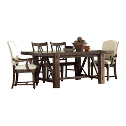 Riverside Furniture - Riverside Furniture Castlewood 5 Piece Dining Table Set in Warm Tobacco - Riverside Furniture - Dining Sets - 335505PCPKG
