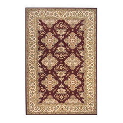 Momeni - New Zealand Wool Power Loomed Area Rug in Burgundy - Persian Garden PG-01 (3.0 f - Choose Size & Shape: 3.0 ft. x 5.0 ft. Rectangle. Symmetrical designs offer added formalities for traditional rugs. Our Persian Garden selection is a beautiful choice with its ivory border framing a burgundy center. Flowers and vines abound in Persian inspired displays. The luster of New Zealand wool adds special qualities. Power loomed. Space-dyed yarn. 100% New Zealand Wool. Care InstructionInspired by the rarest Persian Antique pieces, Persian Garden is a unique collection of power-loomed rugs that evoke a sense of the past in modern-day colors and interpretations. These rugs feature an abrash effect and hand-serged edges for a quality finish.