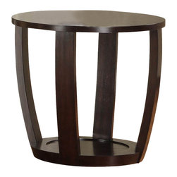 Homelegance - Homelegance Patterson Round Wood End Table in Espresso - Convex framing supports the modern look of the Patterson collection. Featured in a warm espresso finish, the occasional collection's rounded features are further complimented with display shelving.