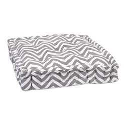 IMAX CORPORATION - Grey Chevron Floor Cushion - This functional floor cushion features a fun grey chevron print fabric with tufted details. Find home furnishings, decor, and accessories from Posh Urban Furnishings. Beautiful, stylish furniture and decor that will brighten your home instantly. Shop modern, traditional, vintage, and world designs.