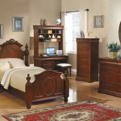 Acme Furniture - Classique Cherry Kids 4 Piece Twin Bedroom Set - 11875AT-4Set - Set includes Twin Bed, Dresser, Mirror and Nightstand