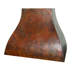 "Range Hoods - Range custom hood with liner insert included in a beautiful rustic patina shown in calico hammering. Available in sizes 30""-60"" and option of wall or island mount. Choice of patinas finishes and colors. Range hoods are all hand hammered copper and created custom when you order them."