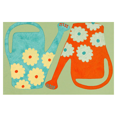 Trans-Ocean - Watering Cans Green Mats 3218/06 - The highly detailed painterly effect is achieved by Liora Mannes patented Lamontage process which combines hand crafted art with cutting edge technology.The 100% Polyester face, and 100% Recycled Rubber non-skid backing make this suitable for Indoor or Outdoor use and easy to clean.The low profile nature of these Lamontage mats is ideal for use in front of doors or in the kitchen, and the fun designs will bring excitement to any room of the house.