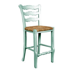 EuroLux Home - New Counter Stool Blue Painted Hardwood - Product Details