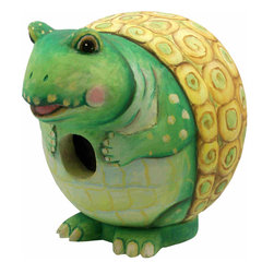 Songbird Essentials - Turtle Gord-O Birdhouse - Songbird Essentials adds color and whimsy to any garden with our beautifully detailed wooden birdhouses that come ready to hang under the canopy of your trees. Hand-carved from albesia wood, a renewable resource, each birdhouse is hand painted with non-toxic paints and coated with polyurethane to protect them from the elements. By using all natural and nontoxic components Songbird Essentials has created a safe environment complete with clean-out for our feathered friends.