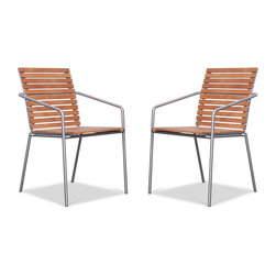 Shalini I Garden Chair Set - Currently out of stock. - The Shalini I Garden Chair features tubular steel and a hard-wearing teak seat. It's the perfect blend of simple design and high-tech materials.