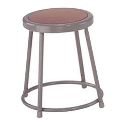 National Public Seating - Science Lab Stool w Hardboard Seat - Customize your seating situation to fit any condition with this steel-framed stool.  Whether you need to seat your friends at a card table or at a high bar in your dining room, this stool may well provide the perfect answer to whatever you need.  Perfect when you have smaller children or just short legs.  This heavy duty steel stool come complete with grey masonite seatst.  The grey metal shines and will accompany any decor style you may have in your home. * Plastic guides. 14 in. Dia. seat with 11.5 in. Dia. masonite board recessed into pan and will not chip or crack. 0.63 in. O.D. foot rings are welded to each leg. Four contact points at each leg for added rigidity. Steel contains 30-40% of post-consumer waste (recycled). Meets ANSI and BIFMA standards. Warranty: Five years for material. Made from 0.88 in. O.D. 18-gauge steel tubing. 14 in. L x 14 in. W x 18 in. H (8 lbs.)