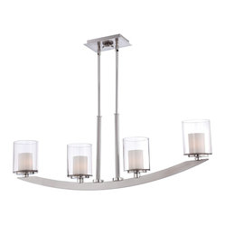 Quoizel - Quoizel QZ-UPLB440BN Uptown Liberty Kitchen Island Light - Inspired by the light of Lady Liberty, New York City��_a candle in the wind bringing the freedom of the great outdoors to your interiors.  It features a Brushed Nickel finish with coordinating clear and opal etched glass shades.