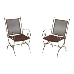 Home Styles - Home Styles Sundance Outdoor Dining Chair in Bronze - Set of 2 - Home Styles - Patio Dining Chairs - 5608802 - When the sun is high in the sky or disappears below the horizon youll enjoy the natural beauty of your Home styles Sundance Dining Chair Pair w/ Cushion. This exuberant dining pair is constructed of powder-coated metal frame and vinyl coated polyester seats with brown weather resistant two-tie cushions.  Chair features a frame that is coated in a smooth copper finish detailed curved legs and pinwheel swirled arms bring character to any atmosphere.  Adjustable nylon glides to prevent damage to surfaces caused by movement and provide stability on uneven surfaces.  Assembly required.  Size: 25.25w 21d 38.25h