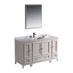 "Fresca - 54 Inch Single Sink Bathroom Vanity in Antique White, Antique White - Blending clean lines with classic wood, the Fresca Oxford Traditional Bathroom Vanity is a must-have for modern and traditional bathrooms alike. The vanity frame itself features solid wood in a stunning antique white finish that's sure to stand out in any bathroom and match all interiors. Available in many different finishes and configurations.  Dimensions: 54""W X 20.38""D X 32.63""H (Tolerance: +/- 1/2""); Counter Top: White Quartz Stone; Finish: Antique White; Features: 4 Doors, 3 Drawers; Soft Close Hinges; Hardware: Chrome; Sink(s): 16.25"" X 11.5"" X 6.5"" Undermount White Ceramic Sink; Faucet: Pre-Drilled for Standard Single Hole Faucet (Included); Assembly: Light Assembly Required; Large Cut Out in Back for Plumbing; Included: Cabinet, Sink, Choice of Faucet with Drain and Installation Hardware, Mirror (26""W X 31.88""H); Not Included: Backsplash"