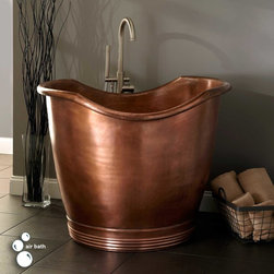 """41"""" Teramo Copper Japanese Soaking Air Tub - Embellished with a ribbed base and scooped rim, the 41"""" Teramo Copper Japanese Soaking Air Tub is designed to rejuvenate with massaging jets."""