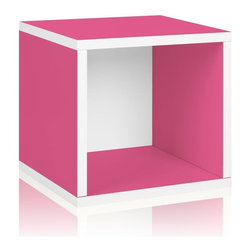 Way Basics - Way Basics Bookcases zBoard Eco 12.8 in. x 13.4 in. Pink Stackable Storage Cube - Shop for Storage & Organization at The Home Depot. Stackable Modular Storage Cubes. Simple design solution and eco-friendly furniture. An excellent home organizer for modern living. Behold our most basic creation flexing its muscles. Truly modular in every sense of the word there are endless configurations and possibilities for the design guru. Each Cube is separate from each other so you can satisfy your design itch when you feel like changing things up a bit. Stack them side to side on top of each other or get creative and build a pyramid and ladder design. Mix and match colors or just keep it simple with a single shade. Check out the additional images for ideas and send us your creations too. To assemble zBoard storage products simply peel stick done. Tool-free and hardware free. Super strong 3M heavy duty adhesive bonds the boards together. All our products are formaldehyde free and VOC free so it's safe for your family and our environment. Color: Pink.