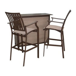Panama Jack Island Breeze 3 Piece Slatted Bar Height Set - Espresso - If being a bartender has always been your secret wish, you can serve up a storm as well as entertain in style with the Panama Jack Island Breeze 3 Piece Slatted Bar Height Set - Espresso. Showcasing graceful lines and subtle curves for a look that is classic with a contemporary edge, this bar height set, which includes two barstools and a stylish sling bar, makes a perfect addition to any upscale patio, or poolside.Boasting a tubular extruded aluminum frame in a unique powder coated espresso finish that will not rust, the arm chairs and the bar feature an exclusive woven Twitchell sling fabric, which is so comfy that it eliminates the need for cushions, seating you and your guests in luxurious comfort throughout your meal. With the set being weather- and UV-resistant, you are assured of years of enjoyment, while the stackable design of the barstools makes off-season storage a breeze.Dimensions:Barstool (each): 23W x 21D x 47H inchesBar: 22W x 48D x 40H inchesAbout Hospitality RattanHospitality Rattan has been a leading manufacturer and distributor of contract quality rattan, wicker, and bamboo furnishings since 2000. The company's product lines have become dominant in the Casual Rattan, Wicker, and Outdoor Markets because of their quality construction, variety, and attractive design. Designed for buyers who appreciate upscale furniture with a tropical feel, Hospitality Rattan offers a range of indoor and outdoor collections featuring all-aluminum frames woven with Viro or Rehau synthetic wicker fiber that will not fade or crack when subjected to the elements. Hospitality Rattan furniture is manufactured to hospitality specifications and quality standards, which exceed the standards for residential use.Hospitality Rattan's Environmental CommitmentHospitality Rattan is continually looking for ways to limit their impact on the environment and is always trying to use the most environmentally friendly 