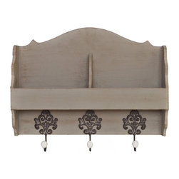 Enchante Accessories Inc - Distressed Rustic Solid Wood Vintage Wall Shelf, Distressed Grey - Ornate metal hooks add a sense of vintage elegance to this versatile wood wall shelf.  The distressed rustic solid wood vintage wall shelf with decorative hooks is constructed from solid wood and features a gently distressed design with worn in edges that look as though the paint has chipped away over time.  The top edge and side panels are scalloped for added distinction while the three decorative metal hooks are balanced beautifully beneath the shelf and provide added storage for different items around the house.