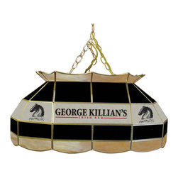 Trademark Global - Killians Stained Glass Pool Table Lamp - 3 ft. Hanging chain included. Bulbs not included. 2 Bulb style (max. 60 watt per bulb). Pull chain. On & Off switch. 10 ft. Power cord (110 Volt) with 3 Prong plug hanging hardware. Hand-made with stained glass brass channel. 28 in. L x 16 in. W x 14 in. H (27 lbs.)This Killians 28 in. Stained Glass Tiffany Lamp is an incredibly high quality lighting fixture. Use for your lighting your Billiard Table, Kitchen Table or even your Dining Room Table. Great for gifts and recreation decor.