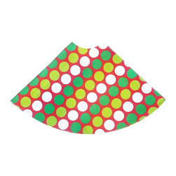 """5 Surry Lane - Red Green Large Polka Dot Holiday Tree Skirt - Designer Holiday Tree Skirt.  54"""" Round.  Fully lined."""