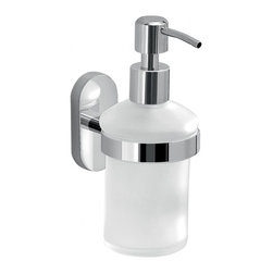 Gedy - Wall Mounted Frosted Glass Soap Dispenser - Rounded soap dispenser is made of frosted glass and the wall mount is made of stainless steel; mounting screws are included.