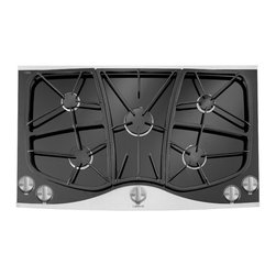 """Jenn-Air 36"""" Ceran Glass-ceramic Gas Cooktop, Stainless/blk 