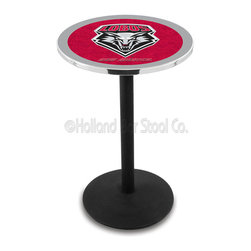 Holland Bar Stool - Holland Bar Stool L214 - Black Wrinkle New Mexico Pub Table - L214 - Black Wrinkle New Mexico Pub Table belongs to College Collection by Holland Bar Stool Made for the ultimate sports fan, impress your buddies with this knockout from Holland Bar Stool. This L214 New Mexico table with round base provides a commercial quality piece to for your Man Cave. You can't find a higher quality logo table on the market. The plating grade steel used to build the frame ensures it will withstand the abuse of the rowdiest of friends for years to come. The structure is powder-coated black wrinkle to ensure a rich, sleek, long lasting finish. If you're finishing your bar or game room, do it right with a table from Holland Bar Stool. Pub Table (1)
