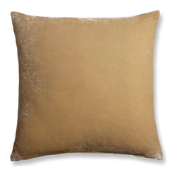 """The Linen Works - Mustard Velvet/Linen Cushion Cover - two sizes, 20"""" X 20"""" - Absolutely luxurious, this sumptuous Silk Velvet Cushion Cover actually shimmers.    Soft mustard front with a Dove Grey linen backing.  Available in Mustard, China Blue, Slate Green and Taupe."""