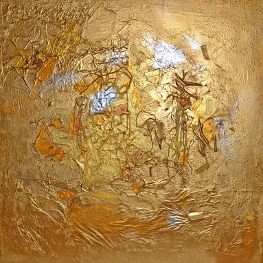 Adina Cicort - Gold Country Mixed Media Painting Artist Adina Cicort - Original abstract painting signed by world-known artist Adina Cicort. Non traditional mixed media techniques metallic acrylic paint including 18 k gold paint. Unique and rich texture.