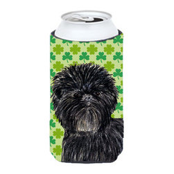 Caroline's Treasures - Affenpinscher St. Patrick's Day Shamrock Portrait Tall Boy Koozie Hugger - Affenpinscher St. Patrick's Day Shamrock Portrait Tall Boy Koozie Hugger Fits 22 oz. to 24 oz. cans or pint bottles. Great collapsible koozie for Energy Drinks or large Iced Tea beverages. Great to keep track of your beverage and add a bit of flair to a gathering. Match with one of the insulated coolers or coasters for a nice gift pack. Wash the hugger in your dishwasher or clothes washer. Design will not come off.