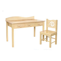 "Natural Desk and Chair Set - Our child-size 100% Natural desk and chair set has 3 drawers and lots of desktop space. Set is made with solid wood finished with natural stains. Chair back has a swirl shaped cut-out.   Includes 3 Waves shape knobs. Has wave shaped back piece  Desk is 48""L, 24""D, 28""H.  Chair is 16""D x 16""W x 32.5"" H.  Removable hutch with corkboard back and bookshelf sold separately."
