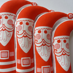 Screen Printed Retro Santa Father Christmas Plush Toy Doll by Jane Foster - Jane Foster's hand-printed Santas have a jolly retro appeal. I'd love them grouped with other holiday pillows or dolls.
