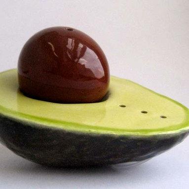 Avocado Salt and Pepper Shaker from Daina Platais Ceramics -