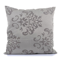 """Concepts Life - Concepts Life Square Pillow  Grey Damask - These grey Damask Throw Pillows are equal parts whimsy and grace. Great for a subtle floral infusion into any space.  Materials: Polyester cover with poly filler Spot clean Dimensions: 18""""h x 18""""w Weight: 1.5 lbs Pillow arrives in a vacuum sealed bag Once the pillow is aired and fluffed it will regain its full, soft and plump shape"""