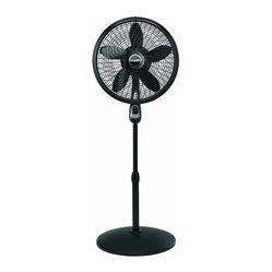 "Lasko Products - Adjustable Cyclone Pedestal Fan Blk - Lasko Remote Control Cyclone Pedestal Fan with black finish; Multi-function remote control; Powerfully cools the largest home spaces; Swirling Cyclone performance grill; Easy-to-use timer; Oscillation and adjustable tilt-back to direct air where needed; Three quiet, energy-efficient speeds; Fully adjustable height for added versatility; Simple assembly and cleaning; Includes a patented, fused safety plug; E.T.L. listed; 20-1/2"" L x 20-1/2"" W x 53-1/2"" H"