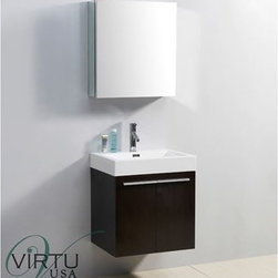 "Virtu USA - Virtu USA 24"" Midori Single Sink Bathroom Vanity with Polymarble Countertop - We - If a smaller space is what you have to work with but you don't want to settle for an ordinary vanity, the 24 in. Midori is the perfect choice. This vanity features a beautiful finish, a high gloss polymarble basin for an easy clean, and a magnificent set of Satin Nickel hardware. This vanity also includes the perfect amount of storage with two doors with Blum soft closing hinges. Virtu USA has taken the initiative by changing the vanity industry and adding soft closing doors and drawers to their entire product line. By doing so, it will give their customers benefits ranging from safety, health, and the vanity's reliability.FeaturesMain cabinet: 23.2"" W x 17.9"" D x 25.8"" HMirror/Medicine cabinet: 23.6"" W x 6"" D x 25.6"" HMaintenance-free high gloss polymarble countertop with integrated basinWenge finishWater resistant low V.O.C sealerPlywood and Composite with MelamineAdjustable hingesMain cabinet: 2 Doors with BLUM' soft closing hingesMirror/Medicine cabinet: 1 Door with BLUM' soft closing hingesSatin Nickel HardwarePre-drilled single hole faucet mountMinimal assembly requiredPS-103 Faucet with Pop Up and Drain Assemblies Included CUPC, UPC and IAPMO Certified Faucet with Limited Lifetime Warranty Lead-Free Faucet Compliant with AB1953 and S152 Eco-Friendly WaterSense Certified 1.5 GPM flow rateHow to handle your counterView Spec Sheet"