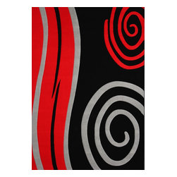 Rug - 3-Piece Red/Black with Grey Living Room Area Rugs Set, Geometric & Machine Made - GEO COLLECTION