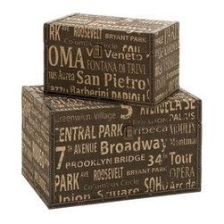 "Benzara - Classic Old Time Wood Leather Box Set/2 16"", 12""W - Classic Old Time Wood Leather Box Set/2 16"", 12""W"