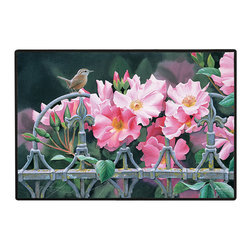 400-Wren & Pink Flowers Doormat - 100% Polyester face, permanently dye printed & fade resistant, nonskid rubber backing, durable polypropylene web trim on the porch or near your back entrance to the house with indoor and outdoor compatible rugs that stand up to heavy use and weather effects