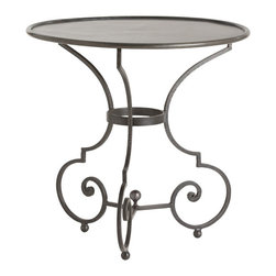"""Arteriors - Arteriors Home - Hart Small Side Table - 4243 - Classic looping detailing and an iron finial define the Hart table. A trio of arched arms support the round banded iron top. Features: Hart Collection Small Side TableNatural Iron Some Assembly Required. Dimensions: H: 24"""" x 24"""" Dia"""