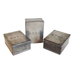 Pre-owned Vintage Metal Boxes - Set of 3 - This cool set of 3 numbered metal boxes was purchased at an antique fair in London. They were originally used for storing tea samples, but are now ready to hold the treasures of your choosing!