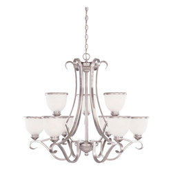 Savoy House - Savoy House 1-5778-9-69 Willoughby 9 Light Chandelier - A builder?s dream, versatile and polished in Pewter with White Marble glass (topped off with a pewter rim). The perfect match for today?s popular stainless steel appliances.