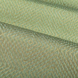 Impulse Geometric Upholstery Fabric in Azure - Impulse Geometric Upholstery Fabric in Azure has a light blueish-green diamond pattern with a slight sheen that gives a metallic look. Ideal for upholstering sofas, chairs, and ottomans or for creating custom bedding and pillows. Made in the USA from a blend of 18% cotton, 32% olefin, and 50% polyester. This upholstery fabric passes 30,000+ double rubs on the Wyzenbeek Abrasion Test. Passes CA117 Test, UFAC 1 Width 53″; Repeat: 5 3/4″ H; 5″V