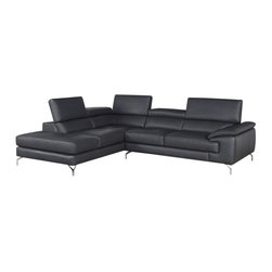 J&M Furniture - J&M Furniture A973 Italian Leather Sectional with Left Hand Facing in Ash Grey - A fusion of style, and comfort. This sleek design is sure to add spice to any decor while maintaining a modernistic clean design. Beautifully crafted from premium grade thick Italian leather and features 3 independent ratchet headrest. Available in a vibrant red, or black. the A973b is definitely another winner by J&M Furniture.