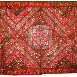 Mogul interior - Embroidered Tapestry Throw Boho Wall Hanging - Gorgeous Handmade vintage Tapestry Wall Hanging Made of Sari Patch.