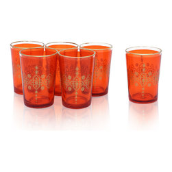 Divine Designs - Set of 6 Moroccan Tea Glasses, Orange - These stunning Moroccan tea glasses offer a new and unique experience to dining and entertaining. The vibrant color and distinguishing design is stylish and designed to impress.