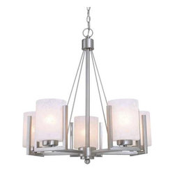 Dolan Designs Lighting - Five-Light Chandelier - 2240-09 - This simple chandelier has five arms that extend out into a pinwheel formation. Each holds a white-frosted, cylindrical glass shade. The satin nickel finish draws attention to the sleek, contemporary lines. Includes six feet of chain. Takes (5) 100-watt incandescent A19 bulb(s). Bulb(s) sold separately. UL listed. Dry location rated.
