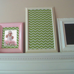 Chevron Fabric Cork Farmhouse Bulletin Board - Large, framed fabric cork bulletin board with a green chevron print is a perfect addition to your home decor. A Country Cottage, Shabby Chic Farmhouse cream frame! Use this large, decorative organizer bulletin board as a central family message center, in your child's room, kitchen, or home office - works well anywhere! The hand painted cream frame is decorative and is a wonderful addition to your rustic, country cottage or shabby chic decor. Perfect accompaniment to chalkboards, magnet boards and push pin boards.