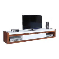 White Line Imports - Booth Modern TV Stand, White/Walnut Veneer - Habitual and everyday things may look adorable and stylish if you choose it with taste. Such essential element of the interior as TV stand can greatly emphasize any living room area.