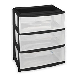 Home Products - Large 3 Drawer Cart, Black by HOMZ - Our HOMZ Large Three Drawer Cart is ideal for for general storage throughout the home. This cart includes a set of four casters for easy mobility and the clear drawers make it easy for you to view the contents.