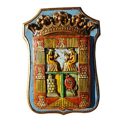 "Spanish Wall Decor - Brightly colored carved Spanish plaque depicting a royal crest. Gilded edges and large gold crown coupled with hand-painted details make this wall-hanging unique. Has bracket for hanging and is tagged ""Made in Spain"" on reverse. Would be wonderful in a game room, office or wet bar."