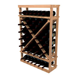 Wine Cellar Innovations - 1 Column Diamond Cube; WineMaker: Rustic Pine Dark Walnut - 4 Ft - The 1 Column Open Diamond Cube has open sides & cross intersection inserts that allow this wine rack kit to be a more affordable bin wine storage option than the Solid Diamond Cube or Solid Diamond Bin. Assembly Required.