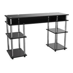 Convenience Concepts No Tools Desk - Black - Perfect for the modern student, the Convenience Concepts No Tools Desk - Black is both simple and smart. This modern desk has plenty of open storage for books and supplies and an expansive work surface for a laptop or desktop computer. Assembles quickly without any tools!About Convenience ConceptsIf you're looking for forward-thinking designs at affordable prices, you can count on Convenience Concepts. Sensible contemporary furniture that's easy and ready to assemble, all of the products created by Convenience Concepts are quality-driven and will add flair to your living spaces.